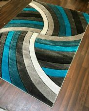 Rugs Approx 6x4ft 120x160CM Carved Rugs Top Quality Grey-Teal New Designs Rug